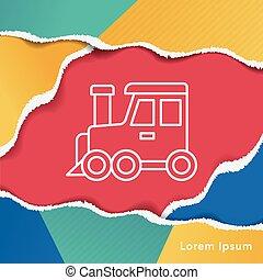 linha, trem, ícone