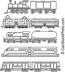 linha, trem, arte, ícones