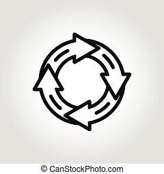 linha, vetorial, círculo, ícone seta
