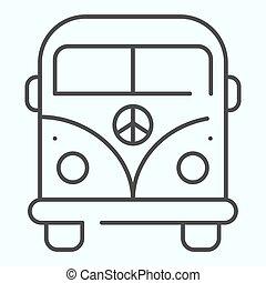 linha, vetorial, desenho, magra, teia, eps, projetado, estilo, 10., símbolo, autocarro, minibus, app., ilustração, isolado, hippie, paz, esboço, minivan, white., icon.