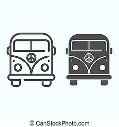 linha, vetorial, desenho, teia, eps, projetado, estilo, 10., símbolo, autocarro, sólido, minibus, app., ilustração, isolado, hippie, paz, esboço, minivan, white., icon.