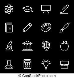linha, vetorial, educação, jogo, ícone