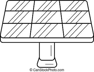linha, vetorial, icon., painel solar