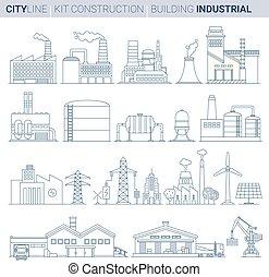 linha, vetorial, ilustração, set., industrial, edifícios