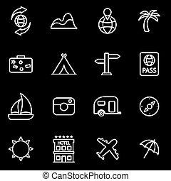 linha, vetorial, jogo, viagem, ícone