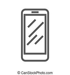 linha, vetorial, smartphone, ícone, magra