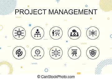 linha, workflow, apresentação, reunião, magra, risco, trendy...