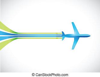 linhas, avião, desenho, ilustração