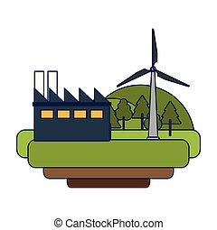 linhas azuis, energia, turbinas, verde, vento