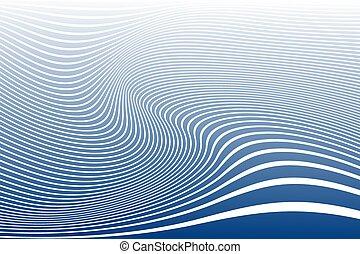 linhas azuis, ondulado, experiência listrada, branca, texture., design.