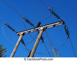 linhas, elétrico, insulators, poder, vidro