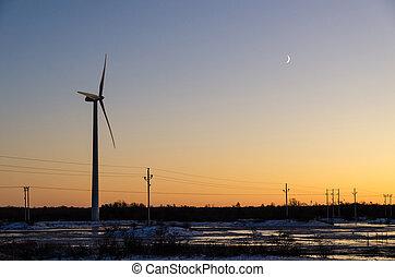 linhas, poder, pôr do sol, moinho de vento