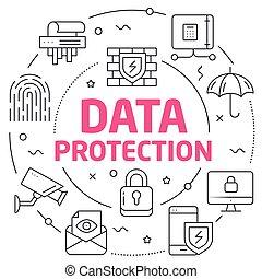 linhas, proteção, dados, ilustração