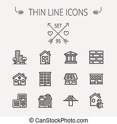 linie, aufbau- satz, schlanke, ikone