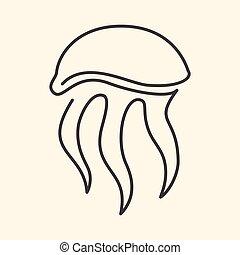 linie, eins, abbildung, jellifish