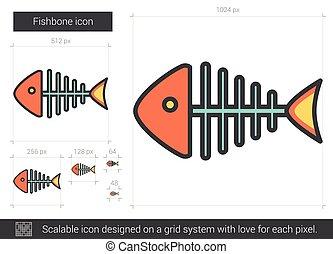 linie, fishbone, icon.