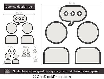 linie, icon., kommunikation