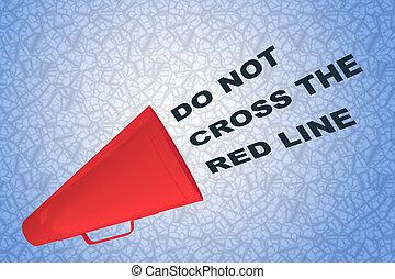 linie, kreuz, not, rotes , begriff