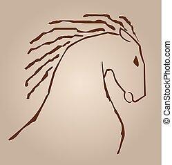 linie, pferd, zeichnung