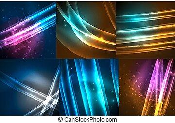 linien, glühen, satz, neon, welle
