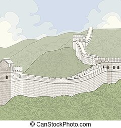 Great Wall of China - Linier rendering of the Great Wall of...