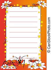 liniowany, notatnik, strona, koźlę, czysty