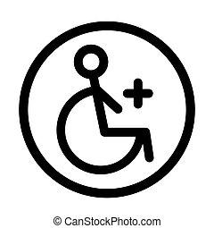 linjär, handikapp, illustration, handikappad, vektor, icon.