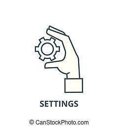 linjär, inställningar, begrepp, symbol, räcka undertecknar, vektor, utrustar, ikon, fodra, skissera