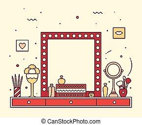 linjär, smink spegla, vektor, toalettbord, fåfänga