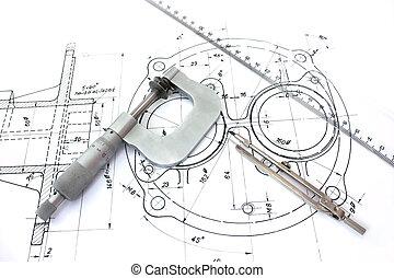 linjal, blueprint., mikrometer, kompass