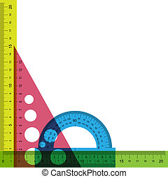 linjal, gradskiva, och, triangle.
