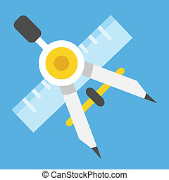 linjal, ic, vektor, teckning kompass