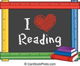 linjal, läsning, ram, kärlek