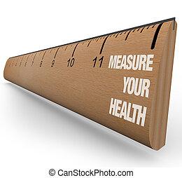 linjal, -, mått, din, hälsa