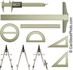 linjal, matematik, instrument