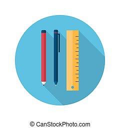 linjal, penna, blyertspenna, ikon