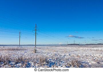 linjer magt, ind, vinter, sne felt