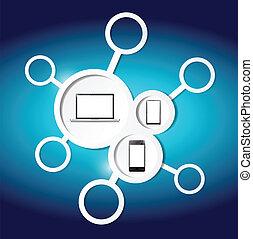 link and electronics illustration design over a blue background