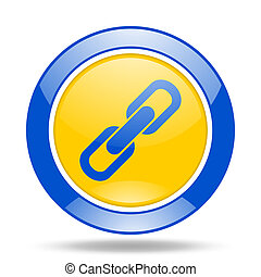 link blue and yellow web glossy round icon