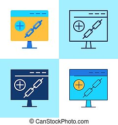 Link building icon set in flat and line style