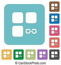 Link component white flat icons on color rounded square backgrounds