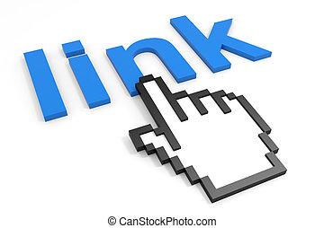 link, cursor., palavra, mão