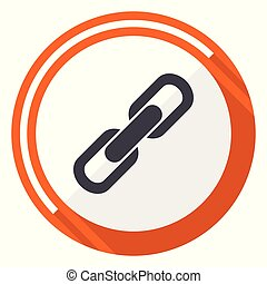 Link flat design vector web icon. Round orange internet button isolated on white background.