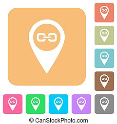 Link GPS map location rounded square flat icons