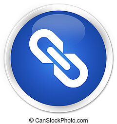 Link icon blue glossy round button