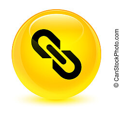 Link icon glassy yellow round button