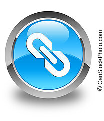 Link icon glossy cyan blue round button
