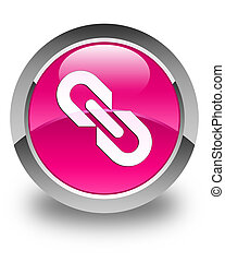 Link icon glossy pink round button