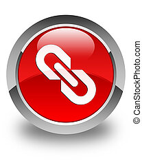 Link icon glossy red round button