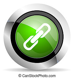 link icon, green button, chain sign